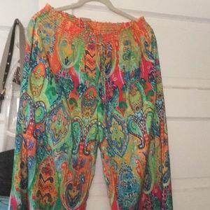 Lauren Gorgeous Paisley Drawstring Pants. M